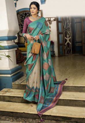 Half N Half Art Silk Saree in Teal Blue and Beige