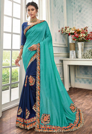 Half N Half Art Silk Saree in Turquoise and Navy Blue