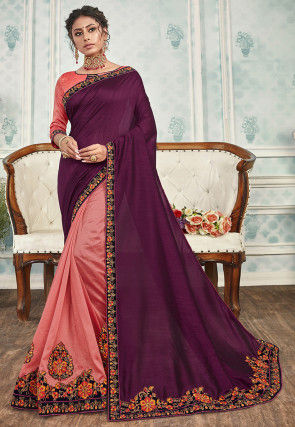 Half N Half Art Silk Saree in Violet and Peach