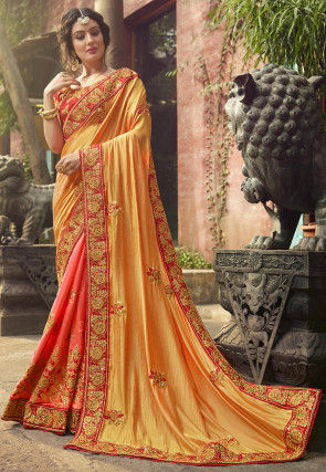 a74b01c443331 Half N Half Art Silk Saree in Yellow and Dark Peach