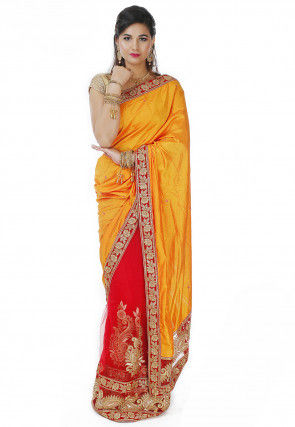 Half N Half Art Silk Saree in Yellow and Red