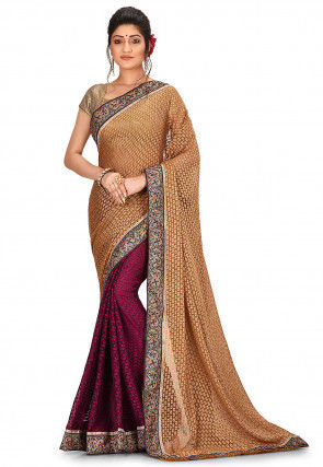 Half N Half Chiffon Brasso Saree in Beige and Magenta