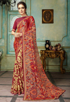 Half N Half Chiffon Brasso Saree in Red and Beige