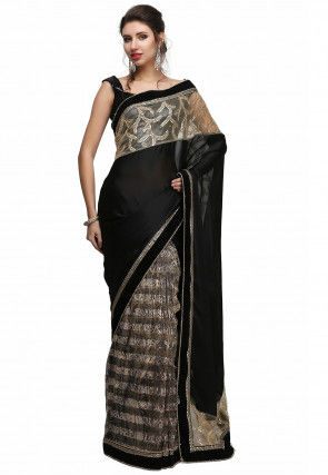 Half N Half Chiffon Saree in Black and Beige