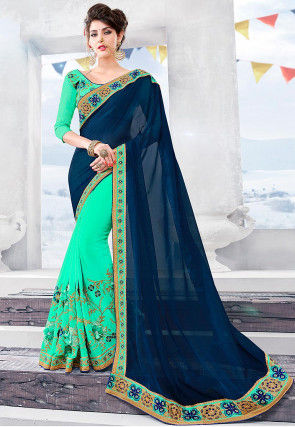 Half N Half Chiffon Saree in Navy Blue and Sea Green