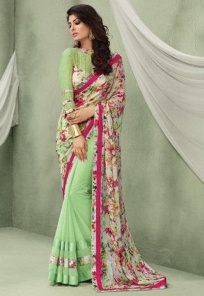 Half N Half Chiffon Saree in Off White and Light Green