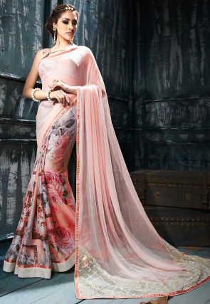 Half N Half Chiffon Saree in Peach