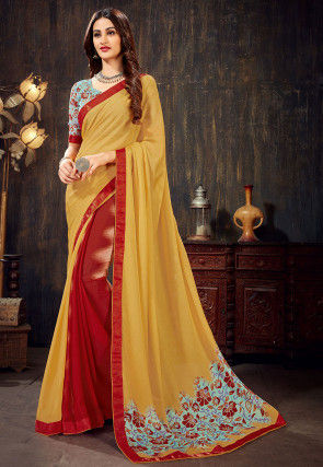 Half N Half Chiffon Saree in Yellow and Red