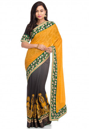 Half N Half Chinon Chiffon Saree in Mustard and Grey