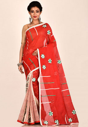 Half N Half Cotton Saree in Red and Light Beige
