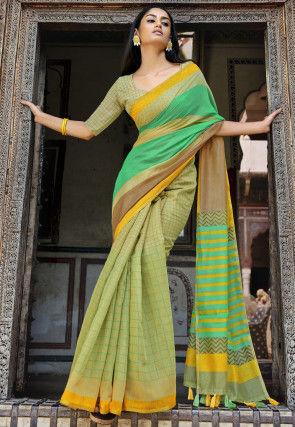 Half N Half Cotton Saree in Teal Green and Beige