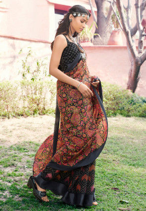 Half N Half Cotton Silk Saree in Black