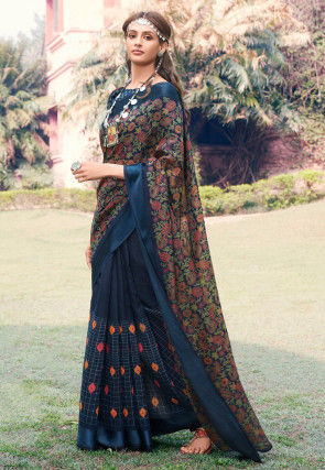 Half N Half Cotton Silk Saree in Navy Blue