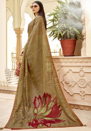 Half N Half Cotton Slub Saree in Beige