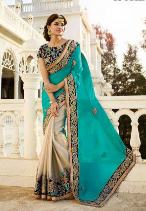 Half N Half Crepe Chiffon Saree in Teal Blue and Light Beige