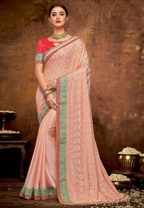 Half N Half Faux Georgette Saree in Light Peach