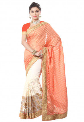 Half N Half Georgette Brasso Saree in Orange and Off White