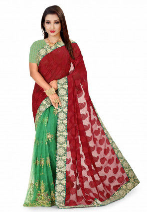 Half N Half Georgette Jacquard Saree in Red and Green