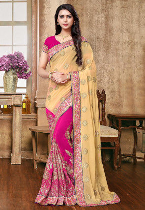 Half N Half Georgette Saree in Beige and Fuchsia