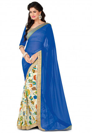 Half N Half Georgette Saree in Blue and Off White