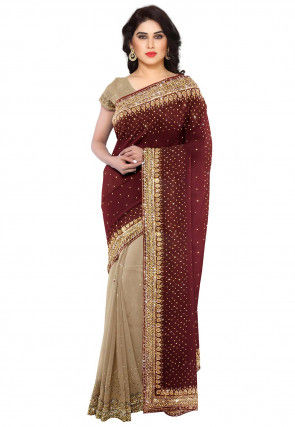 Half N Half Georgette Saree in Brown and Fawn