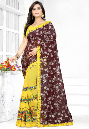 Half N Half Georgette Saree in Brown and Yellow