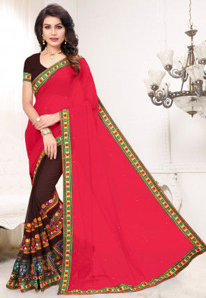 Half N Half Georgette Saree in Fuchsia and Brown