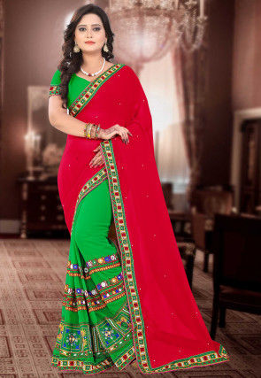 Half N Half Georgette Saree in Fuchsia and Green