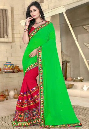 Half N Half Georgette Saree in Green and Red