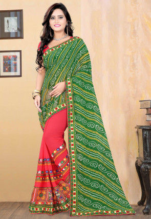 Half N Half Georgette Saree in Green and Pink