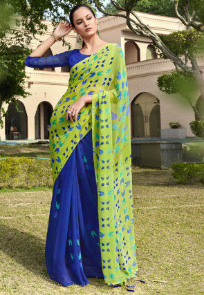 Half N Half Georgette Saree in Light Green and Royal Blue