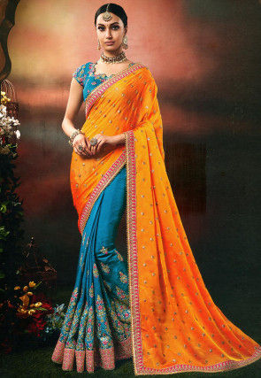 Half N Half Georgette Saree in Light Orange and Teal Blue