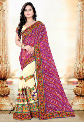 Half N Half Georgette Saree in Magenta and Cream