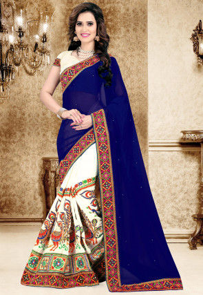 Half N Half Georgette Saree in Navy Blue and Cream