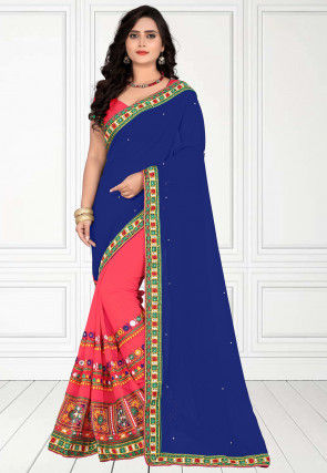 Half N Half Georgette Saree in Navy Blue and Peach