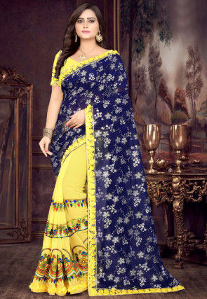 Half N Half Georgette Saree in Navy Blue and Yellow