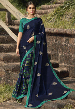 Half N Half Georgette Saree in Navy Blue