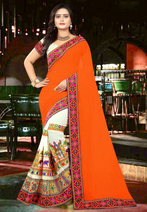 Half N Half Georgette Saree in Orange and Cream