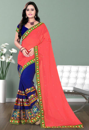 Half N Half Georgette Saree in Peach and Navy Blue