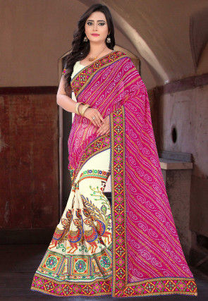 Half N Half Georgette Saree in Pink and Cream