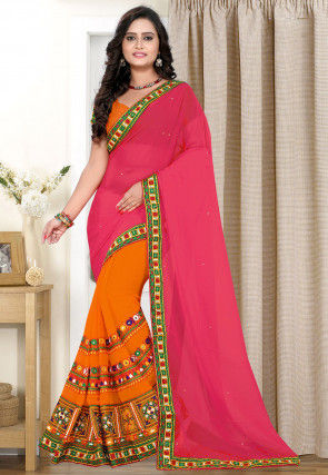 Half N Half Georgette Saree in Pink and Orange