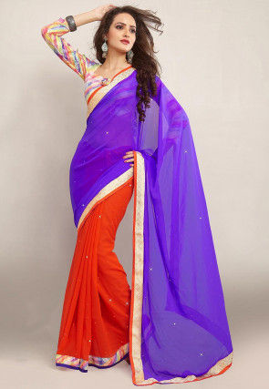 Half N Half Georgette Saree in Purple and Orange