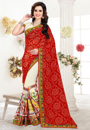 Half N Half Georgette Saree in Red and Cream