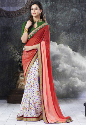 Half N Half Georgette Saree in Red and White