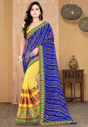 Half N Half Georgette Saree in Royal Blue and Yellow