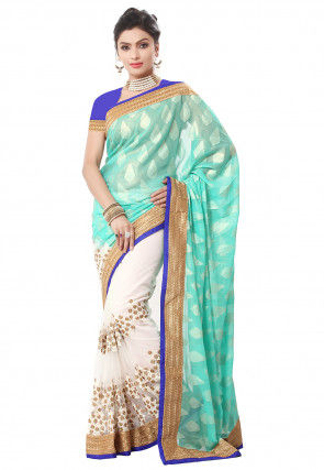 Half N Half Georgette Saree in Turquoise and Off White