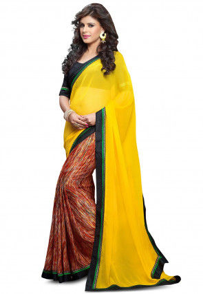 Half N Half Georgette Saree in Yellow and Multicolor