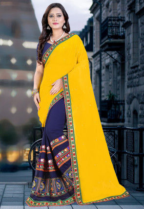 Half N Half Georgette Saree in Yellow and Navy Blue