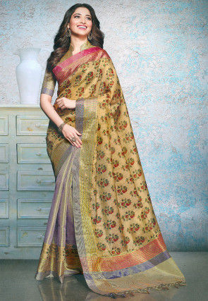 Half N Half Linen Silk Saree in Beige and Light Purple
