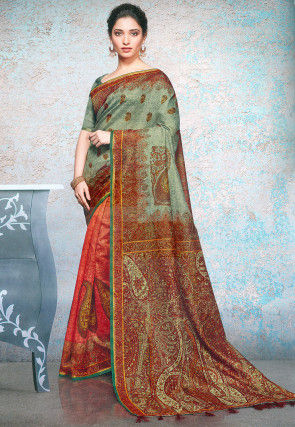 Half N Half Linen Silk Saree in Dusty Green and Red